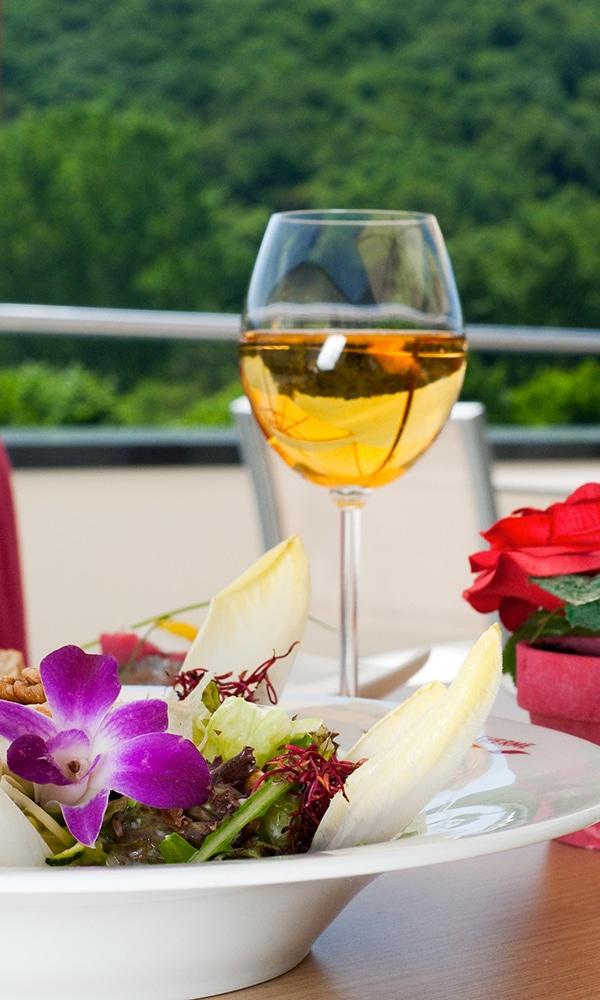 ferron Café Restaurant Bistro Lahn-Dill-Bergland-Therme Bad Endbach, Weinglas und Salat auf der Sonnenterrasse